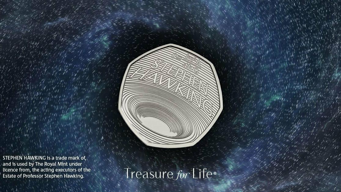 Одна из монет серии Стивена Хоккинга